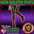 HALLOWEEN FANCY DRESS # BLACK NEON PRINT SKELETON PRINT TIGHTS
